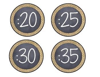 Burlap and Chalkboard Clock Labels