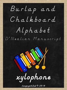 Burlap and Chalkboard D'Nealian Alphabet