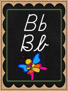 Burlap and Chalkboard D'Nealian Cursive Alphabet