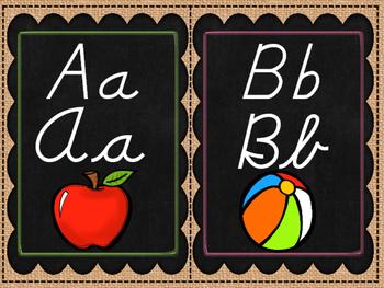 Burlap and Chalkboard D'Nealian and Cursive Alphabet
