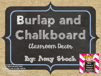 Burlap and Chalkboard Decor Pack