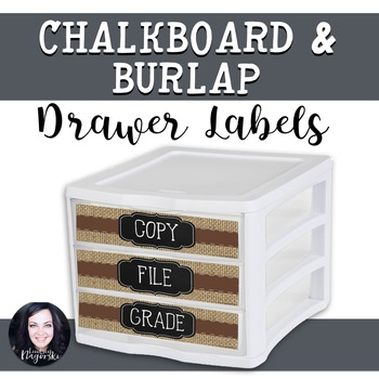Burlap and Chalkboard Drawer Labels