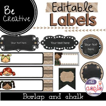 Burlap and Chalkboard Editable Labels