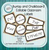 Editable Classroom Labels-Burlap and Chalkboard Theme