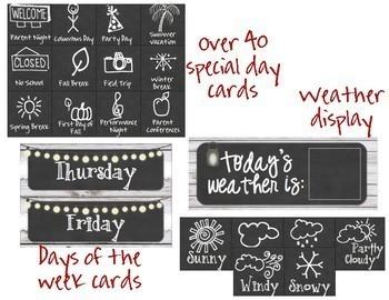 Burlap & Chalkboard Farmhouse Chic Calendar Set