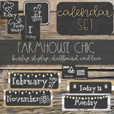 Burlap & Chalkboard Farmhouse Chic Calendar Set