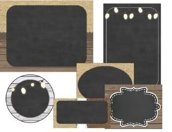 Burlap and Chalkboard - Farmhouse Chic Editable Labels