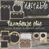 Burlap, Rustic Wood, and Chalkboard - Farmhouse Classroom Decor Editable Labels