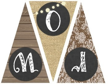 Burlap and Chalkboard - Farmhouse Chic Word Wall Posters and Banner