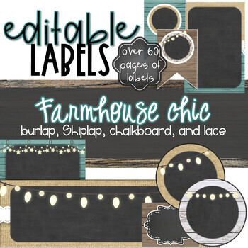 Burlap and Chalkboard - Farmhouse Chic with Teal Editable Labels