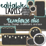 Burlap and Chalkboard - Farmhouse Classroom Decor Editable Labels