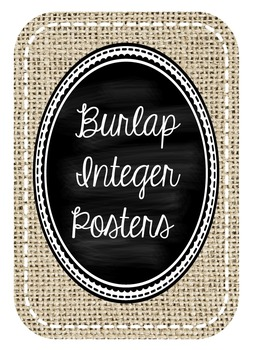 Burlap and Chalkboard Integer Posters