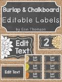 Burlap and Chalkboard Labels ~ Editable