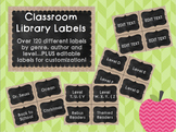Burlap and Chalkboard Library Labels **EDITABLE**