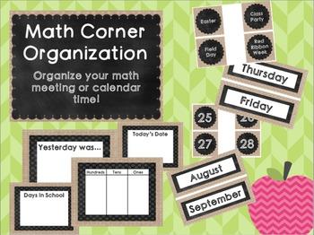 Burlap and Chalkboard Math Corner Labels