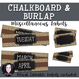 Burlap and Chalkboard Miscellaneous Labels