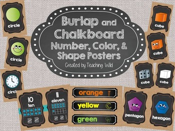 Burlap and Chalkboard Number, Color, and Shape Posters