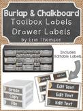 Burlap and Chalkboard Teacher Organization Labels ~ Editable