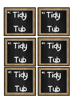Burlap and Chalkboard Tidy Tub Labels