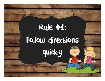 Burlap and Chalkboard Whole Brain Teaching Rules