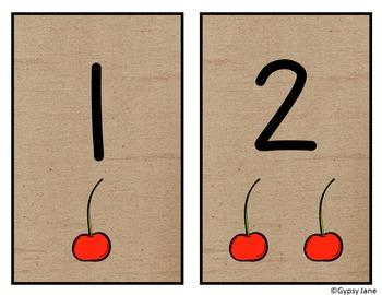 Burlap and Cherries Number Set