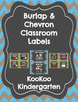 Burlap and Chevron Classroom Labels Set