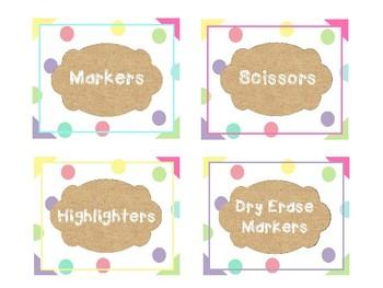 Burlap and Dots Classroom Labels