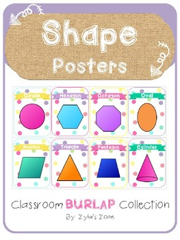 Burlap and Dots Shape Posters