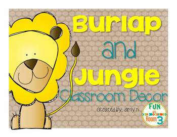 Burlap and Jungle Animal Classroom Decor