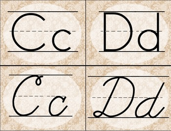 Burlap and Lace Alphabet Cards / Banner / Posters (Print and Cursive)