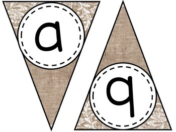 Burlap and Lace Banner - Letters A-Z and Numbers 0-9 with EDITABLE version