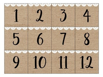 Burlap and Lace Calendar Numbers and Months!