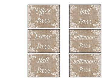 Burlap and Lace Classroom Passes