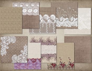 Burlap and Lace Digital Paper, Lace Clipart Scrapbook Kit