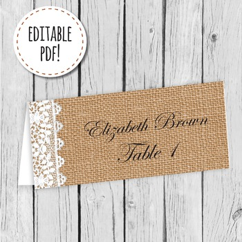 Burlap and Lace Place Card, Label, or Tag Editable PDF Print Ready