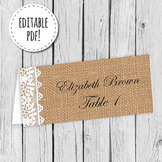Burlap and Lace Place Card, Label, or Tag Editable PDF Pri