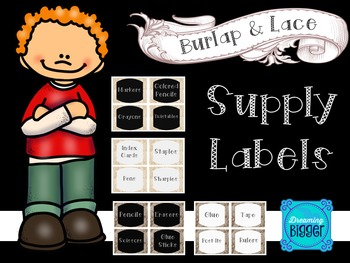 Burlap and Lace Supply Labels {4 Design Choices}