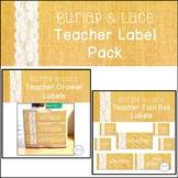 Burlap and Lace Teacher Label Pack