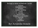 Burlap and Lace schedule cards shabby chic classroom decor
