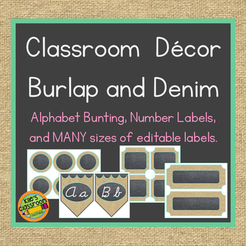 Burlap and Mint Classroom Decor - Editable