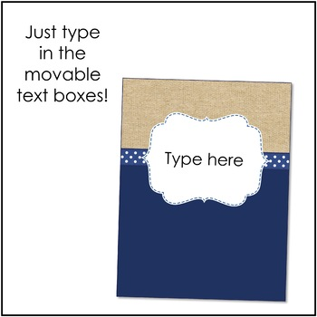 Burlap and Navy Binder Covers and Spines {Editable}