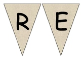 Burlap and Neutral READ Bunting Banner