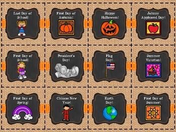 Burlap and Orange Chalkboard Calendar Set