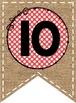 Burlap and Polka Dot 0-50 Numbers Pennants