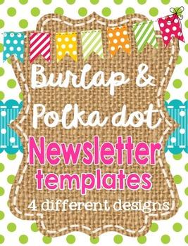 Burlap and Polka Dot Newsletter Templates *editable*