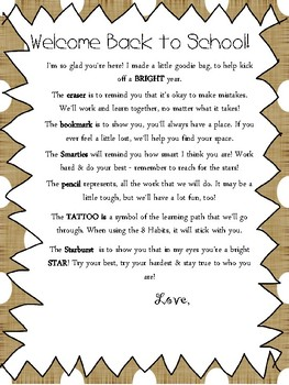 Burlap and Polka dots Welcome Back to school letter