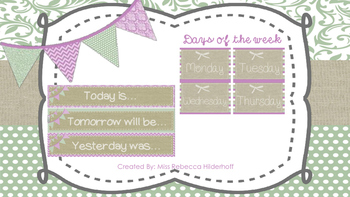 Burlap and Print Classroom Calendar Set