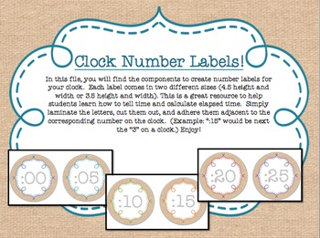 Burlap and Rainbow Clock Labels - {Two Sizes}