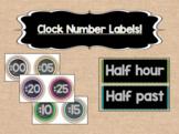 Burlap and Rainbow Clock Number Labels - {Three Sizes}