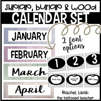 Burlap and Shiplap Calendar Set {Farmhouse Chic}
